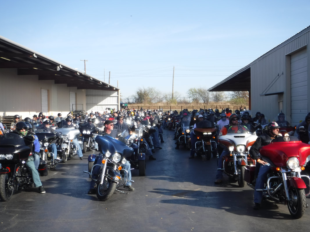 Riders line up in Denton for the annual Coats For Kids Ride. Photo credit: Coatsforkidsride.com