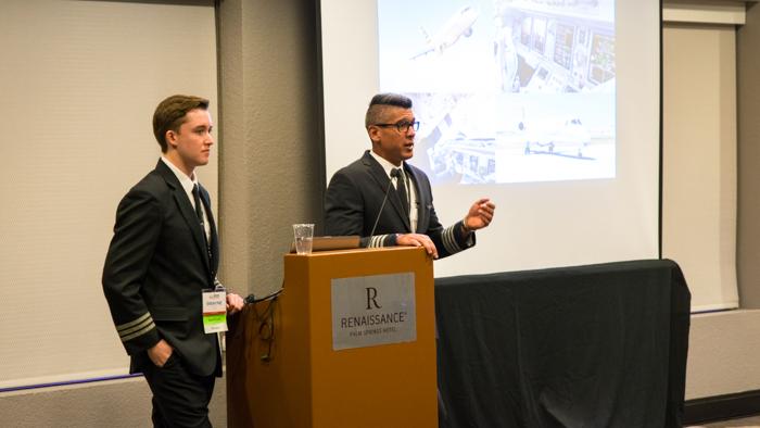 FO Swayne Martin (left) and CA Ricardo Mata address students at a meet-and-greet.
