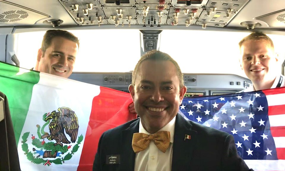 Capt. Abraham Gamez, Envoy VP International Operations, Jorge Ramirez-Blanco and First Officer Clayton Costiloe in ACA