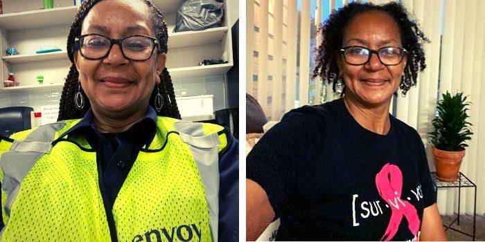 Envoy Fleet Service Clerk Bernice Short in her Envoy uniform (left) and a survivor shirt (right).
