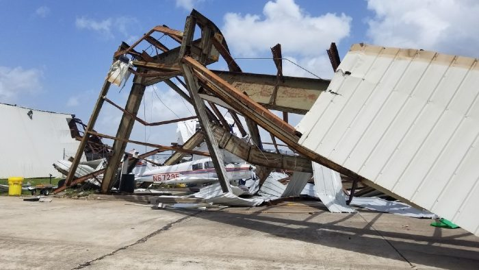 Storm damage at Lake Charles Regional Airport after Hurricane Laura struck the area in August of 2020.